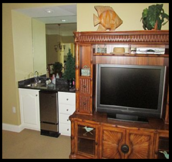 Living Room, TV and Wet Bar